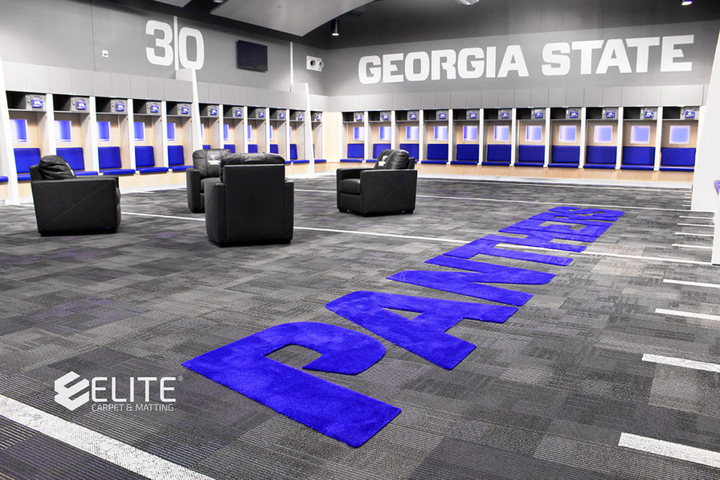 Georgia State University Football Custom Locker Room Flooring by Elite Carpet & Matting Company