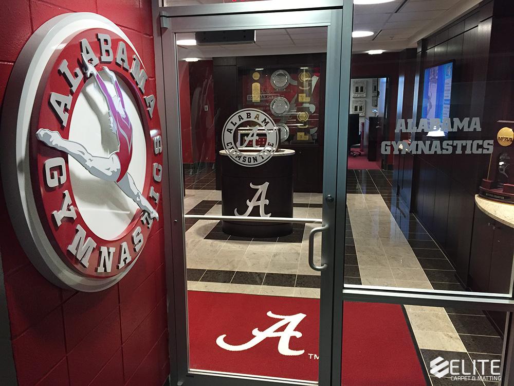The University of Alabama gymnastics, gymnastics mat, logo mat, collegiate custom logo mat, athletic logo mat, flooring, heavy duty logo mat