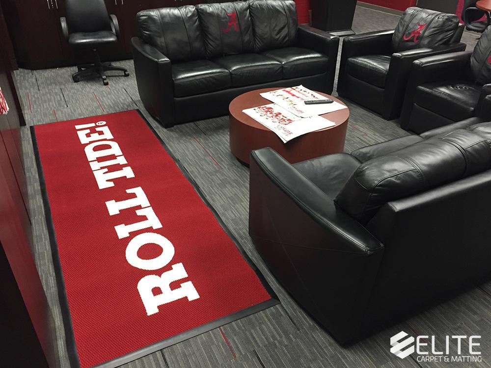 bama tennis mat, custom logo mat, tennis logo mat, players lounge logo mat, alabama logo mat, alabama athletics flooring, custom logo mats