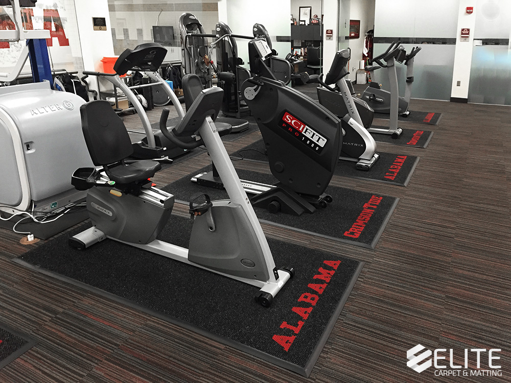 The University of Alabama athletic training room mats, athletic mats, gym mats, workout mats, collegiate mats