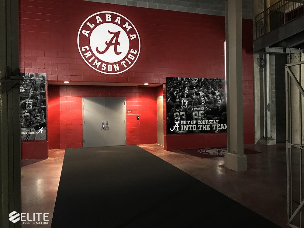 The University of Alabama football tunnel mat, hallway runner, large hallway mat, custom size mat, athletic mats, college mats, professional athletic flooring products