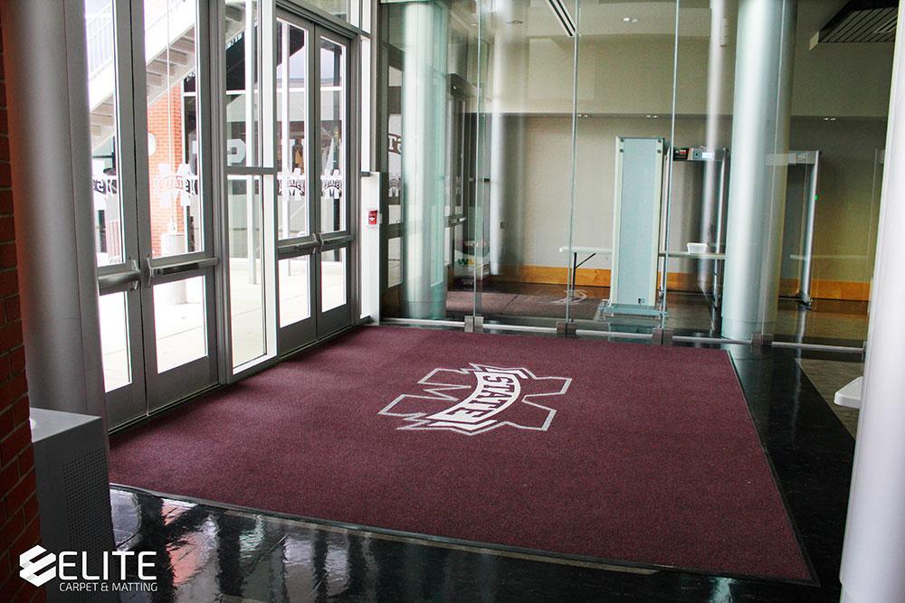 mississippi state university large entry logo mat, large logo mat, entry mat, entry flooring, entry berber carpet, entry logo runner
