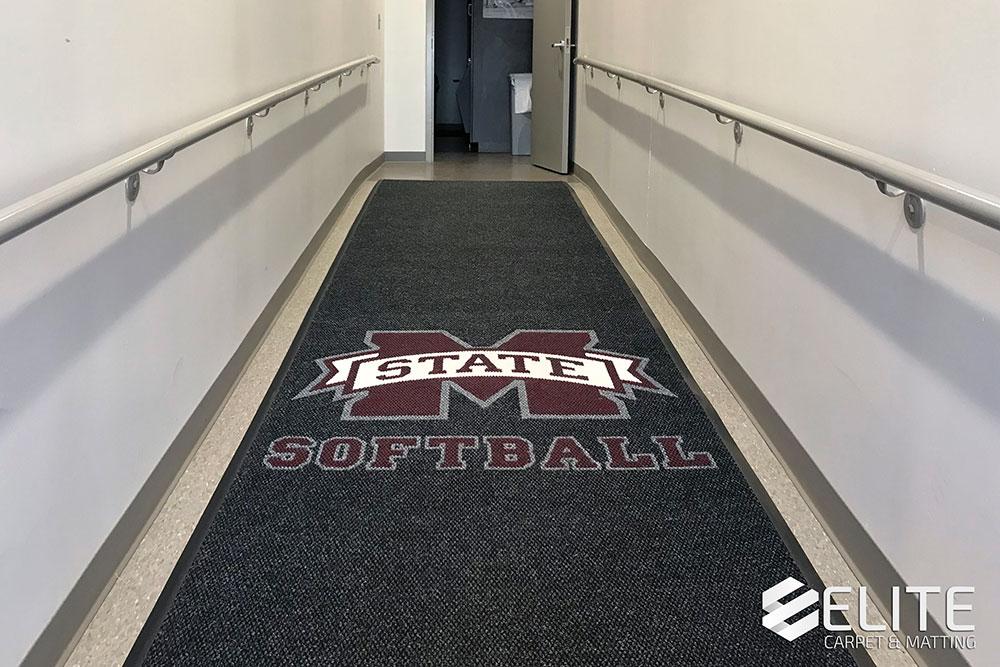 mississippi state university softball hallway runner, hallway carpet, hallway mat, hallway runner, hallway flooring, non slip hallway flooring, berber carpet, berber mat