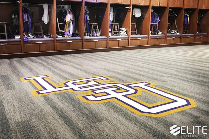 Louisiana State University Baseball Locker Room Flooring by Elite Carpet & Matting Company